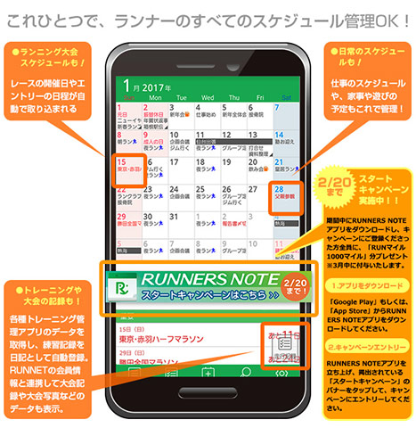 RUNNERS NOTE カレンダー画面